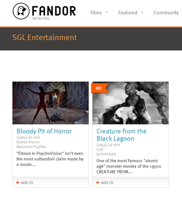 SGL Entertainment at Fandor